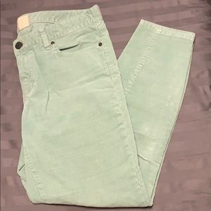 JCrew Factory mint skinny ankle corduroy pants 31